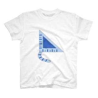 三角定規猫 青しま猫 T-shirts