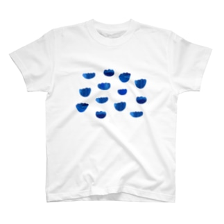 indigo blue flowers T-shirts