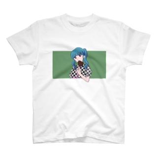 ジュリエットに首ったけ♡の水色髪の女の子(グリーン) T-shirts