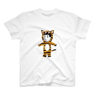 豚人イラストのパンダ武島のタイガーピッグ T-shirts