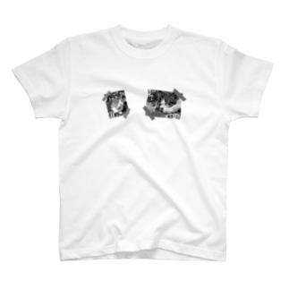 モノクロver.inlet_cats sample No.2 T-shirts