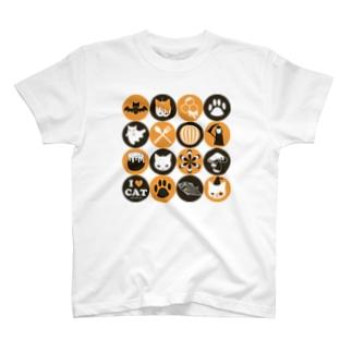 猫とアイコン T-shirts