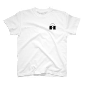 謎と宇宙好きの店のオープンザドア(黒イラスト小) T-shirts