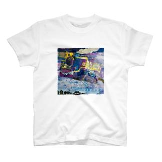 銀河鉄道 水彩画 T-shirts