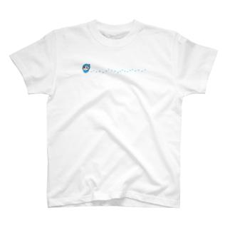 青いとりちゃん・しあわせの足あと T-shirts