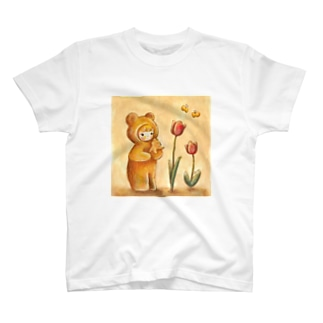 クマちゃんとチューリップ T-shirts
