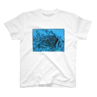 ダブルバーブリーム 切り絵 T-shirts