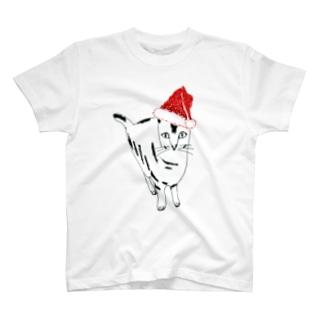 クリスマス@かわいいネコ T-shirts