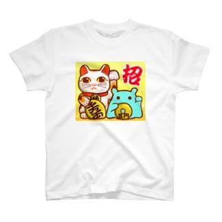 招き猫!【水星人のスイスイちゃん】 T-shirts