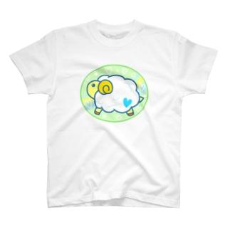 もふもふヒツジ(みどり) T-shirts