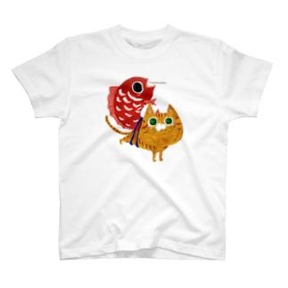 猫と鯛 めで鯛 福猫 茶トラ猫 T-Shirt
