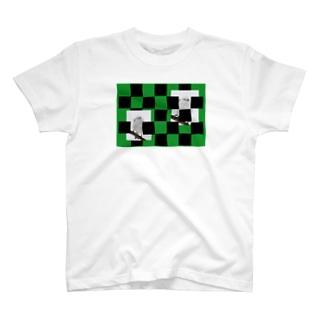 【にこらび】シマエナガ緑◇006 T-shirts