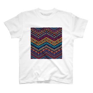 オルテガ柄B(寒色暖色混在系) T-shirts
