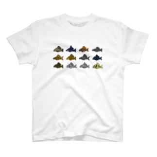 ドット絵怪魚 プレコ T-shirts