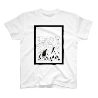 手書きの魔法の山 【枠あり】 T-shirts