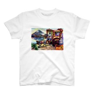 猫と和と牛車と富士山 T-shirts