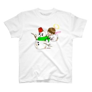 雪だるまと仲良し天使ちゃん T-shirts