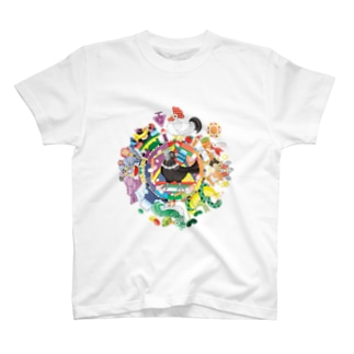 カラフル色相環グラデーションと白黒カラス T-shirts