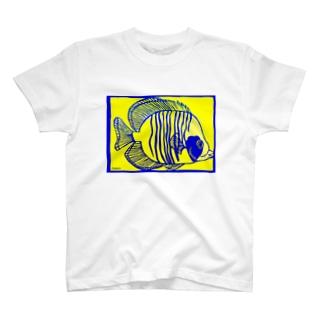 ゴールデンバタフライフィッシュ 切り絵 T-shirts