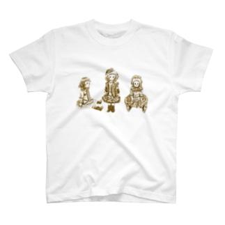 ビスクドール3人娘 セピア T-shirts