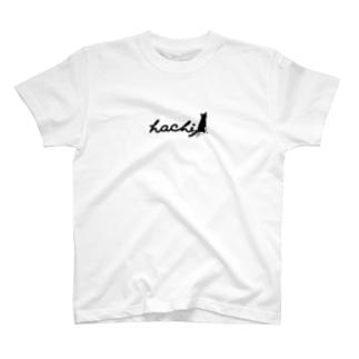 ハチワレ猫 ハチ ロゴ背面ver. T-shirts