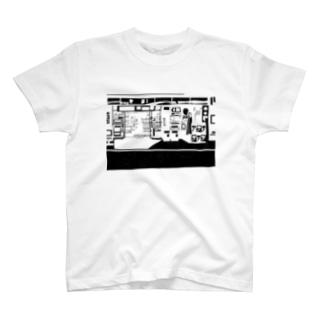 コンビニ柄【黒】 T-shirts