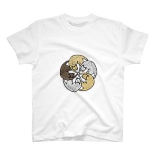 ねこねこ花の紋【タビー】 T-shirts