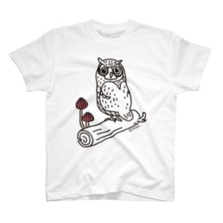 ミミズクときのこ Tシャツ
