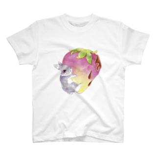しず華*(カラー・リボンボン)のいちご好き好きうさぎさん T-shirts
