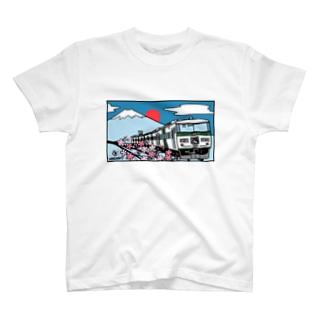 「踊り子」185系と富士山、桜 イラスト T-shirts