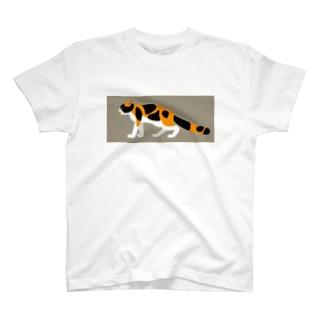 おどおどにゃんこ(地色つき) T-shirts