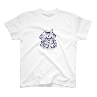 しましまネコの親子 T-shirts