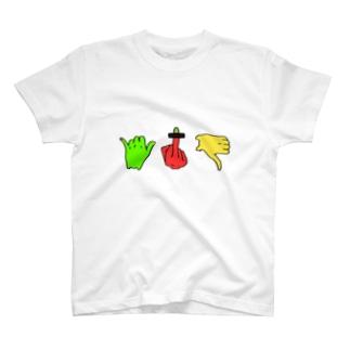 フィンガーサイン(カラフルVer.) T-shirts