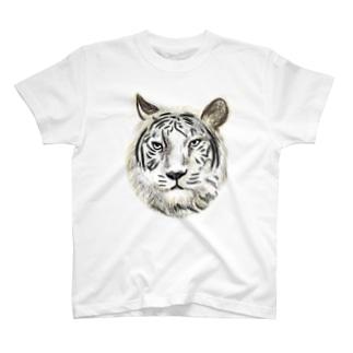 ホワイトタイガー【片面印刷】 T-shirts