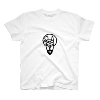 ひらめいたネコサン/モノクロベタ T-shirts