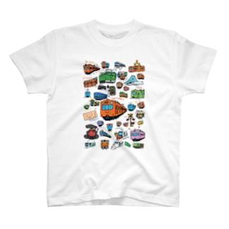 乗り物イラストレーター井上広大 オンラインショップのTRAINS T-Shirt