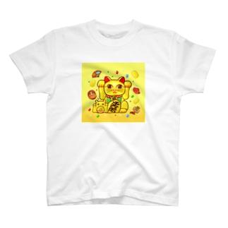 開運!金運!縁起物!【両手 招き猫☆】 T-shirts