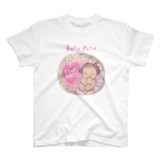 赤ちゃんとお花 Tシャツ
