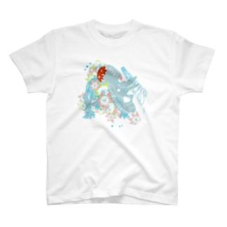 花と恐竜 カラフルver  T-shirts