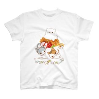 にゃんこカフェ:ワッフル T-shirts