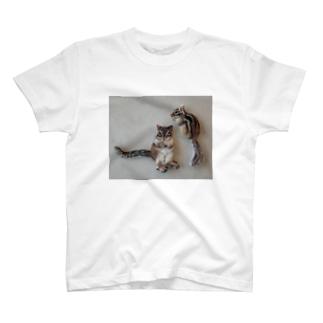 羊毛フェルトのふわふわりす T-shirts