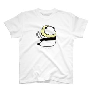 手鏡を見るパンダ T-shirts