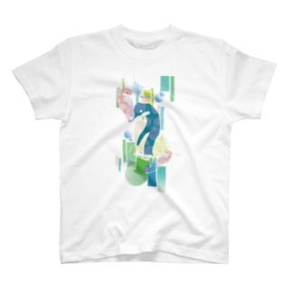 ペンギンTeaTime(ターコイズ) T-shirts