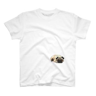 PUG-パグ-ぱぐ リアルパグ-2 ワンポイントTシャツ T-shirts
