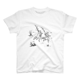 鳥獣戯画風たぬき T-shirts