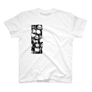 白黒迷彩の蜘蛛の糸パンダ T-Shirt