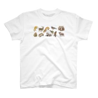 冬の山の動物たち T-shirts