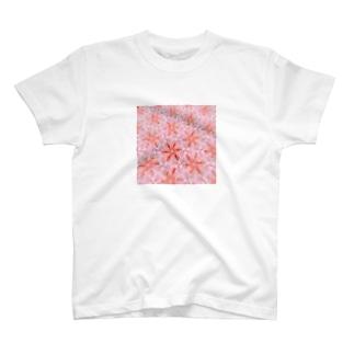 ピンク肩車ンちゃん模様 T-shirts
