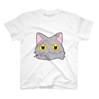 お魚くわえた灰猫 T-shirts