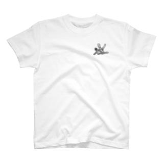指紋と黒と二重線のまとまり T-shirts